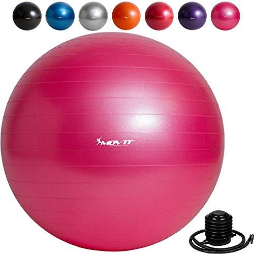 MOVIT Gymnastikball »DYNAMIC BALL« inkl. Fußpumpe, 65 cm, Pink, Maximalbelastbarkeit bis 500kg, berstsicher, Fitness-ball, Sitzball, Yogaball, Pilates-ball, Balance