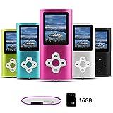 Btopllc Lettore MP3 ,lettore MP4,lettore musicale digitale Scheda di memoria interna da 16 GB, lettore musicale MP3/MP4 portatile e compatto, lettore multimediale, lettore video, video, Ebook - rosa