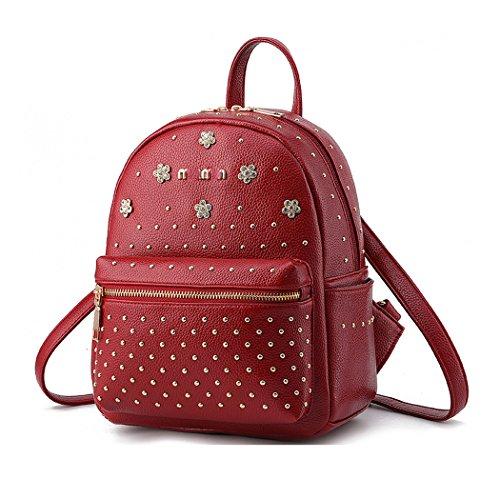 Keshi Pu neuer Stil Damen accessories hohe Qualität Einfache Tasche Schultertasche Freizeitrucksack Tasche Rucksäcke Weinrot