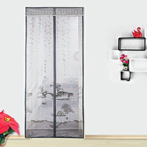 Estate anti-zanzariera porta schermo magnetica crittografia rete impermeabile ventilazione traspirante tenda porta schermo morbido grigio,130*218cm(51.2*85.8in)