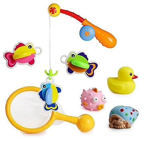 8 PCS Flottant Poisson Jouets de Pêche Cadeau Idéal Jouet de Bain Baignoire pour Enfants (Style