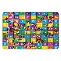 WYICPLO Bathroom Bath Rug Kitchen Floor Mat Carpet,Abstract,Colorful Puzzle Pieces Fractal Children Hobby Activity Leisure Toys Cartoon Image,Multicolor,Non-slip