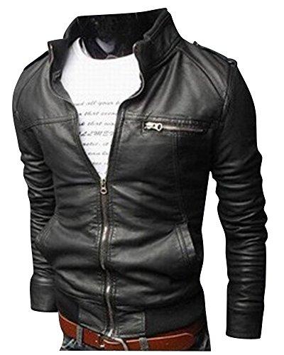 Uomo slim fit motociclista in pelle giacca pu pelle rivestimento chiusura lampo giovanile nero s