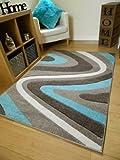 Rugs Superstore New Braun Blau Curve Design Dick Qualität, Weiche Moderne Geschnitzt Teppiche Billig Lang Läufer Matten UK, 60x110cm