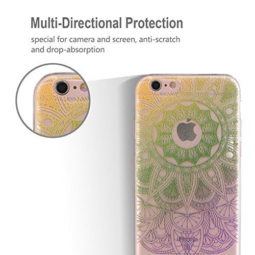 Coque iPhone 6 , iPhone 6S Etui Silicone Transparent Doux TPU Housse Cas Souple Flexible Ultra Mince Csae Cover Soft Gel Licorne et Nuage Motif Dessin Mode E-Lush Enveloppe Coque Pour Apple iPhone 6 6 Vert 2