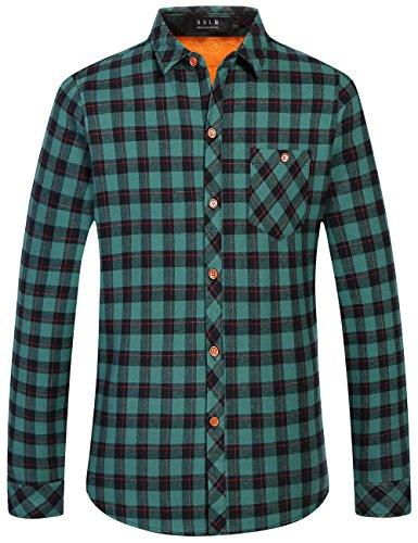 SSLR Camisa de Cuadros Leñador con Forro Polar Térmico Invierno para Hombre (Small, Verde (268-156))
