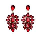 Jerollin Damen Ohrring Rot Ohrhänger Kristall Crystal Set Statement Ohrringe Anhänger Lange Earrings Haken Frauen Vintage Modeschmuck Ethno Schmuck