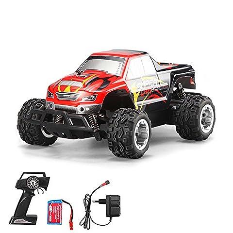 1:24 Off-Road 2WD mini RC ferngesteuertes High Speed Monstertruck Buggy, 2.4GHz Digital vollproportionale Steuerung Top-Speed bis zu 25 km/h, Komplett-Set (Super-racing Seat)