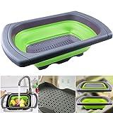 EPHVODI Silikon Küche Dehnbare Zusammenklappbare Colander Korb für Obst und Gemüse Sieb mit Waschbecken Griff - Grün