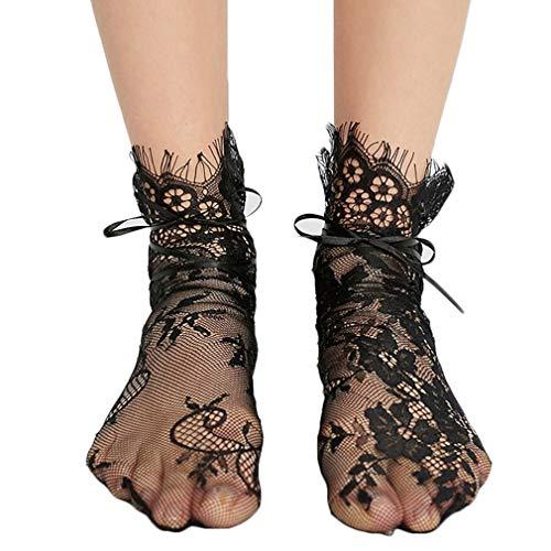 Frauen Schnüren Fußkette Socken Medium Schlauch Stock Sexy Ultradünnes Sheer Short Mesh-Socken (Schwarz) - Mesh Sheer Shorts