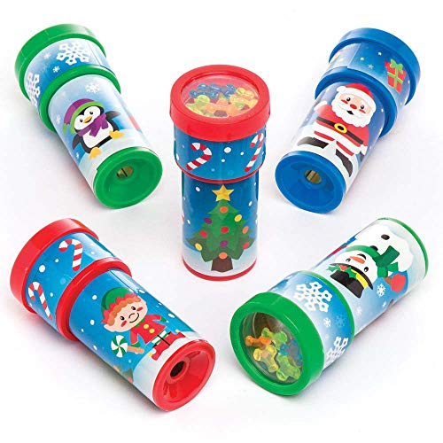 Baker Ross Christmas Kaleidoscopes (Pack Of 6) For Kids Fun Christmas Party Bag And Stocking Fillers