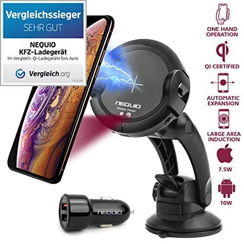 Schnelles Drahtloses Kfz Ladegerät - Premium Handyhalterung mit IR Sensor fürs Auto - Automatisches Klemmen und Öffnen - für iPhone XS Max/X/XR/8 Plus; Samsung Galaxy Note 9/S10/S9/S8 (Plus) und andere Qi Smartphones