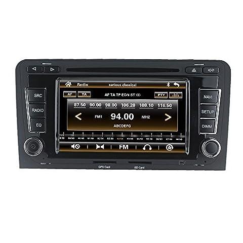 LIKECAR Autoradio Car DVD GPS Navigation Headrest Monitor für Audi A3 S3 2003-2012 Multimedia System mit Bluetooth Lenkradkontrolle MP3 Video FM AM RDS Canbus Audio Touch Screen Dual Zone Deutsch