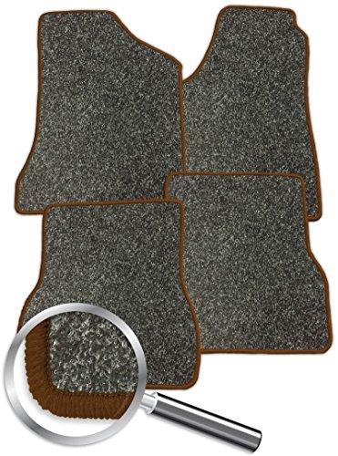 Preisvergleich Produktbild Fussmatten Autoteppich Automatte Passform grau-meliert Rand braun für das unten angegebene Fahrzeug