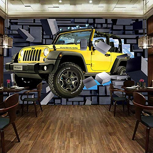 330w Auto (ZHENSI 3D Wandtattoo Tapete Wandbild Benutzerdefinierte 3D Cartoon Jeep Kaputt Auto Wand Coole Restaurant Café Kind Schlafzimmer Wanddekoration 3D, 245 (H) × 330 (W) cm)
