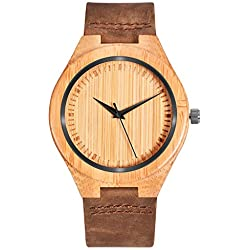 Mecan Wooden Watches for Men Quartz Analogue Casual Bamboo Wood Case Brown Calf Leather Band Men's Wood Watch