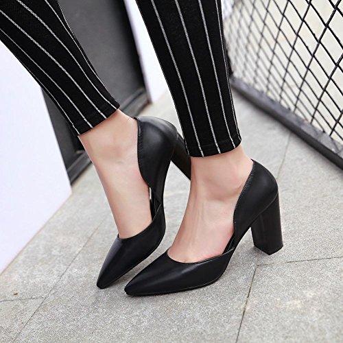 Mee Shoes Damen chunky heels Geschlossen spitz Pumps Schwarz