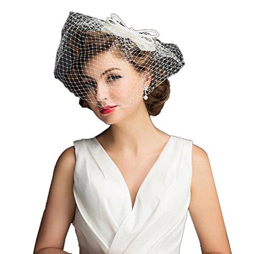 Icegrey Damen Hochzeit Haar Clip Hut Haarschmuck Blumen Fascinator Mit Schleier Perlen Feder (Schleier Hut Mini Weißer Mit Rosa)