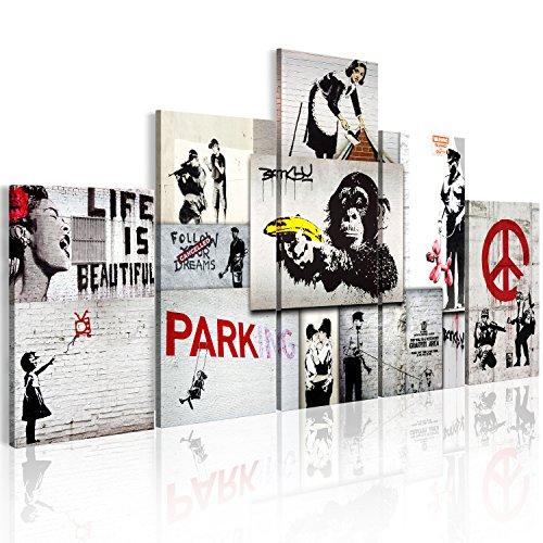 murando - Cuadro 200x100 cm - Abstraccion - Impresion en Calidad fotografica Lienzo Tejido no Tejido - Cuadro en Lienzo Tejido-no Tejido - f-C-0138-b-m Banksy