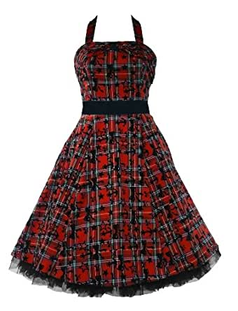 50's Halterneck Tartan Flock Dress Red - Size UK 18 (XXL)