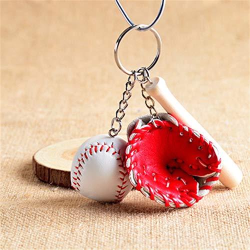 Kuschelig liebenswerte Schlüsselanhänger Spielzeug Moderne Mini Baseball Bat Handschuh Set Keychain Schlüsselanhänger Handtasche Anhänger - rot