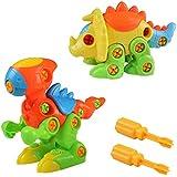 Conjunto de 2 Dinosaurio Juguete Montaje y Los Juguetes Educativos del Tirón para Los Niños de 3 Años+