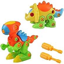 Puzzle Dinosaurios, Desmontar Dinosaurios Juguetes, 2 Puzzle Dinosaurios Ingeniería, Construccion de Juguete Tirón arrastrar para Los Niños de 3+ Años