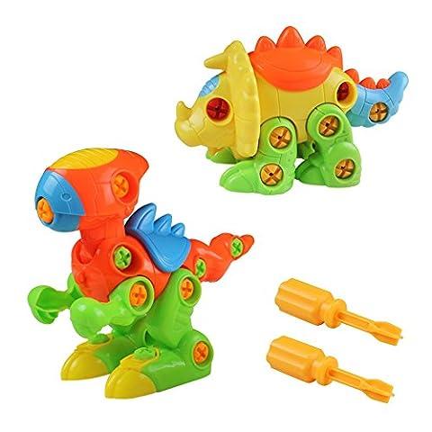 Jeux De Construction Jouet Assemblage Dinosaures Avec Vis Blocs Cadeau Créatif Pour Enfant Garçon Fille Kit De 2 Pièces