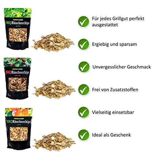 51czukRdtrL - BBQ Räucherchips Mix für tolles Raucharoma beim Grillen - 100% natürliches Smoker-Holz | Ergiebige und sparsame wood chips (Apfel, Buche & Kirsche) für Stand- und Kugel-Grill sowie Smoker | 3 x 500g