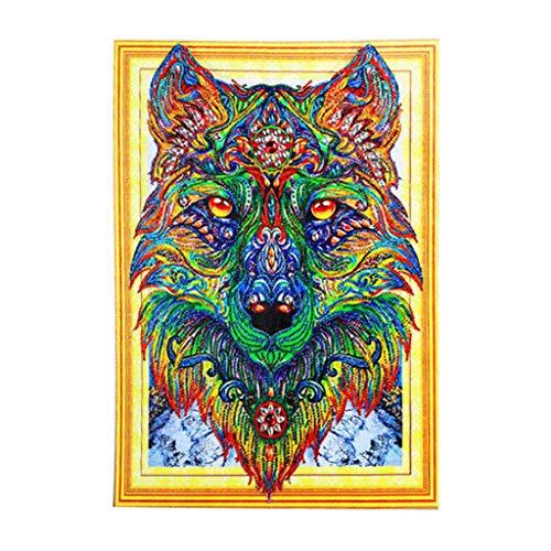 Eine Wolf Hause Zu Kostüm - Caerling DIY 5D Geformte Diamantmalerei, Einzigartig Diamond Painting, Kristall Rhinestone Embroidery Bilder Kunst für Dekoration zu Hause Wolf(30x40cm)