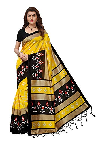 Art Decor Sarees Silk Saree with Blouse Piece (Lichi Patola Yellow!_Yellow!_Free Size)
