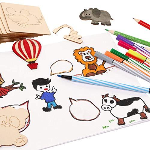 Nettes pädagogisches Spielzeug Holz Zeichnung Stencils Set für Kinder DIY Kinder Malerei Ideal Pädagogische Lernspielzeug Geschenk für Jungen und Mädchen im Alter von 3 bis Teen 55 Stück Vorlagen Für