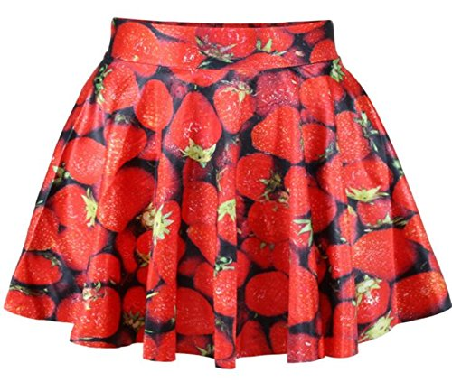 Women Girls Casual High Waist Stretch Waist Flared Pleated Mini Skirt Strawberry (Scarletts Rotes Kleid Kostüm)