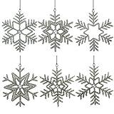 ShalinIndia Set aus 6 handgefertigten Schneeflocken, partyschmuck aus Eisen und Glas zum Aufhängen