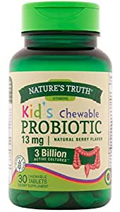 Nature's Truth Probiotic Kids Chewable 3 Billion Supplement (Natural Berry, 30 Count)