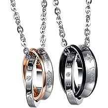 Flongo coppia collana amante regalo per donna uomo anelli interblocco mosaico strass pendenti scrivono Forever Love 2 colori un set in acciaio inossidabile