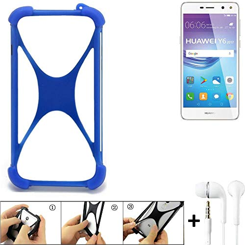 K-S-Trade Handyhülle für Huawei Y6 2017 Single SIM Bumper Schutzhülle Silikon Schutz Hülle Cover Case Silikoncase Silikonbumper TPU Softcase Smartphone, Blau (1x), Headphones