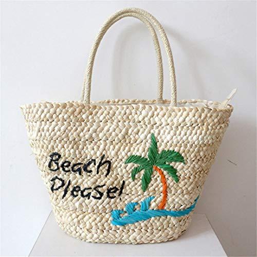 KOIDFJHA Frauen-Baum-Strand-Handtaschen-weiblicher Art- und Weisestroh sackt Sommer-Buchstabe-Dame Knit Tote Handmade Braid EIN White