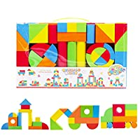deAO Early Education 131 Piece Creative Educational EVA Jumbo Foam Building Construction Blocks for Kids