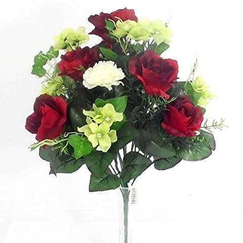 AN ARTIFICIAL BUSH of RED ROSE WHITE CARNATION & GREEN HYDRANGEA FLOWER BOUQUET ARRANGEMENT