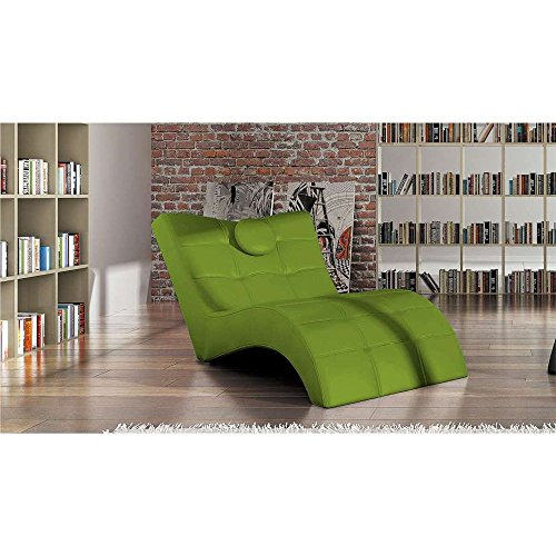 JUSThome LONDON Liege Relaxliege Loungesessel Kunstleder (BxLxH): 84/76x170x92 Grün