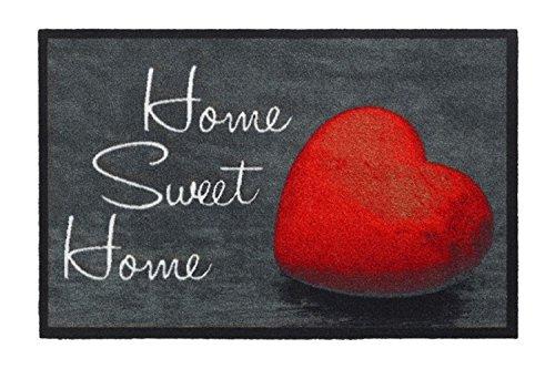 Schmutzfangmatte/Fußmatte/Fussmatte/Fußabstreifer/Fußabtreter/Schmutzmatte Modell - Home Sweet Home - Herz rot - grau Größe : 50 x 75 cm hochflor Fußmatte