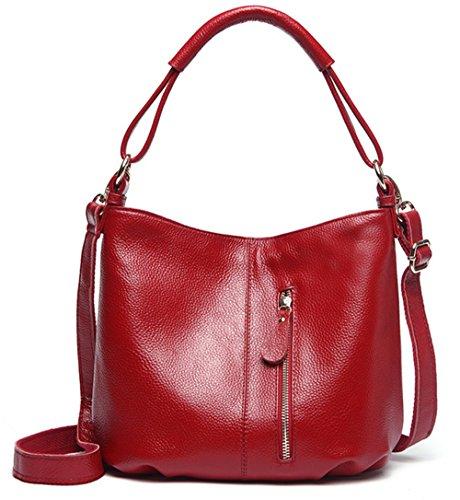 Xinmaoyuan Borse donna vera pelle Borsette Big Bag Borsa a tracolla in vera pelle capacità grande piacere,viola Rosso