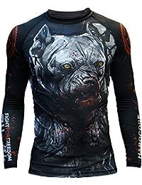 6480d86578b27 Rashguard Hardcore Training Pitbull City T-Shirt de compression MMA BJJ UFC