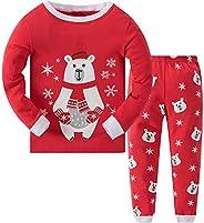 MIXIDON Pijamas de Navidad para Niños Pequeños y Niñas Algodón Ropa de Dormir Manga Larga 2 Piezas Ropa de Niñ