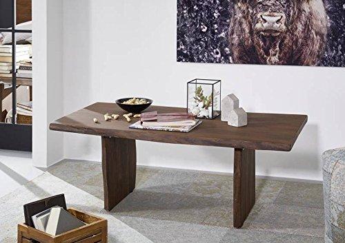 Table basse 120x60cm - Bois massif d'acacia laqué (Brun classique) - Design naturel - LIVE EDGE #007