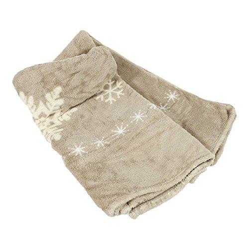Plaid X-Mas microfibre 150 x 200 cm Couverture plaid Noël en molleton 100% polyester couverture polaire de choix de couleur, Microfibre, beige, 150x200