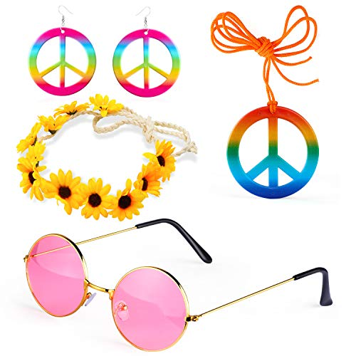 Beefunny 4 Stück Hippie Kostüm Dressing 60er Jahre Accessoires Set Friedenszeichen Halskette Blume Krone Stirnband Hippie Sonnenbrille und Ohrringe (D)