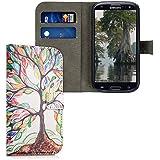 kwmobile Funda chic de cuero sintético para el Samsung Galaxy S3 / S3 Neo con una práctica función de soporte - ¡Diseño árbol colorido en multicolor verde blanco!