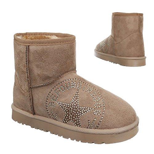 Ital-Design, 502, Boots chaud doublée stiefelettten Beige 2